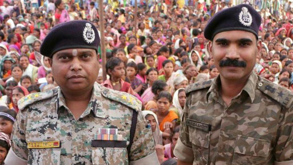 IG (Bastar range) S.R.P. Kalluri (left) has been sent on leave. Credit: Hindustan Times/Twitter