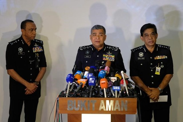 Malaysia's Royal Police Chief Khalid Abu Bakar (C) speaks during a news conference regarding the apparent assassination of Kim Jong Nam, the half-brother of the North Korean leader, at the Malaysian police headquarters in Kuala Lumpur, Malaysia, February 22, 2017. Credit: Reuters