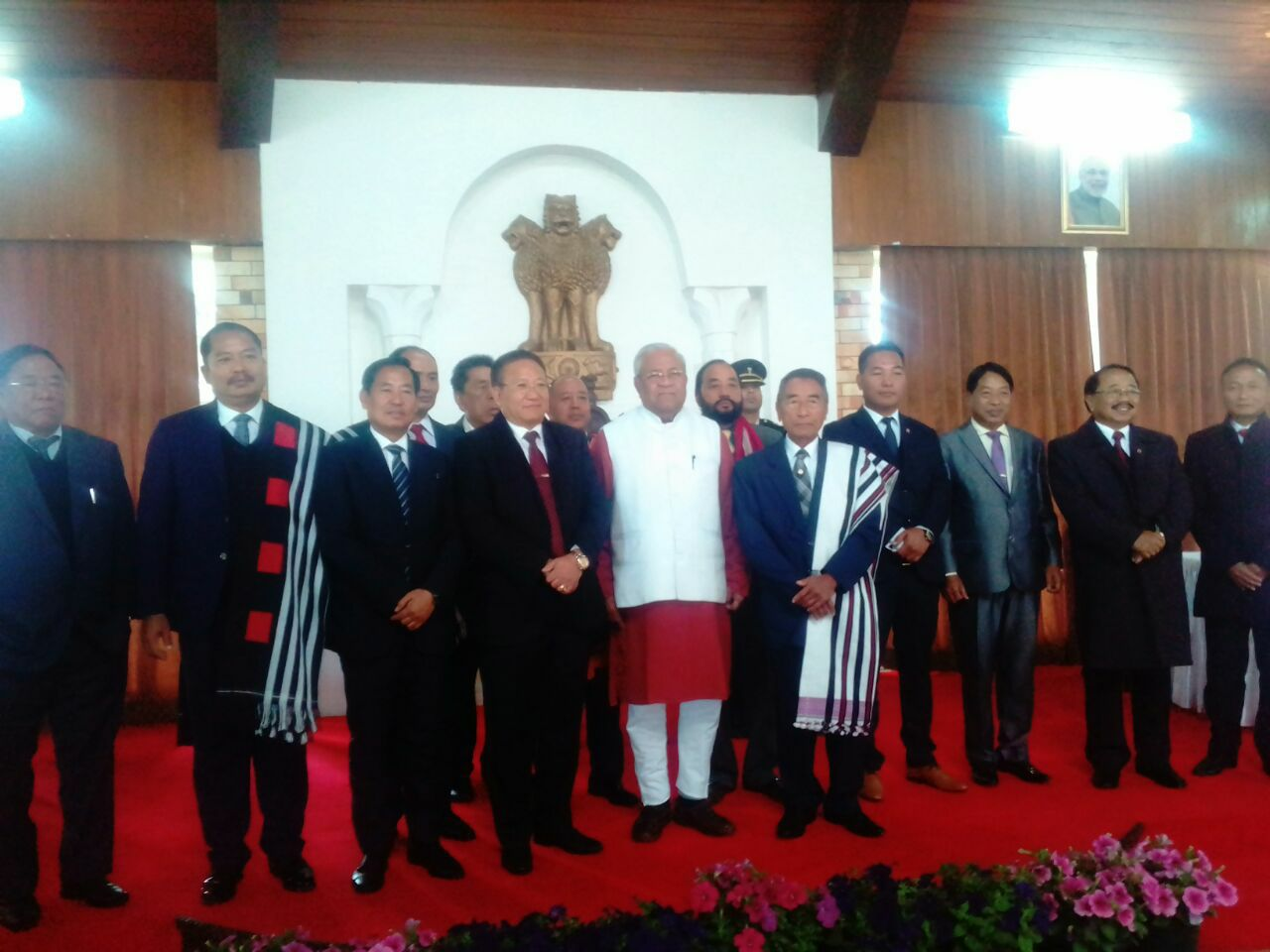 Chief minister Shurhozelie Liezeitsu and his cabinet pose with the governor of Nagaland. Credit: Facebook/We the Nagas