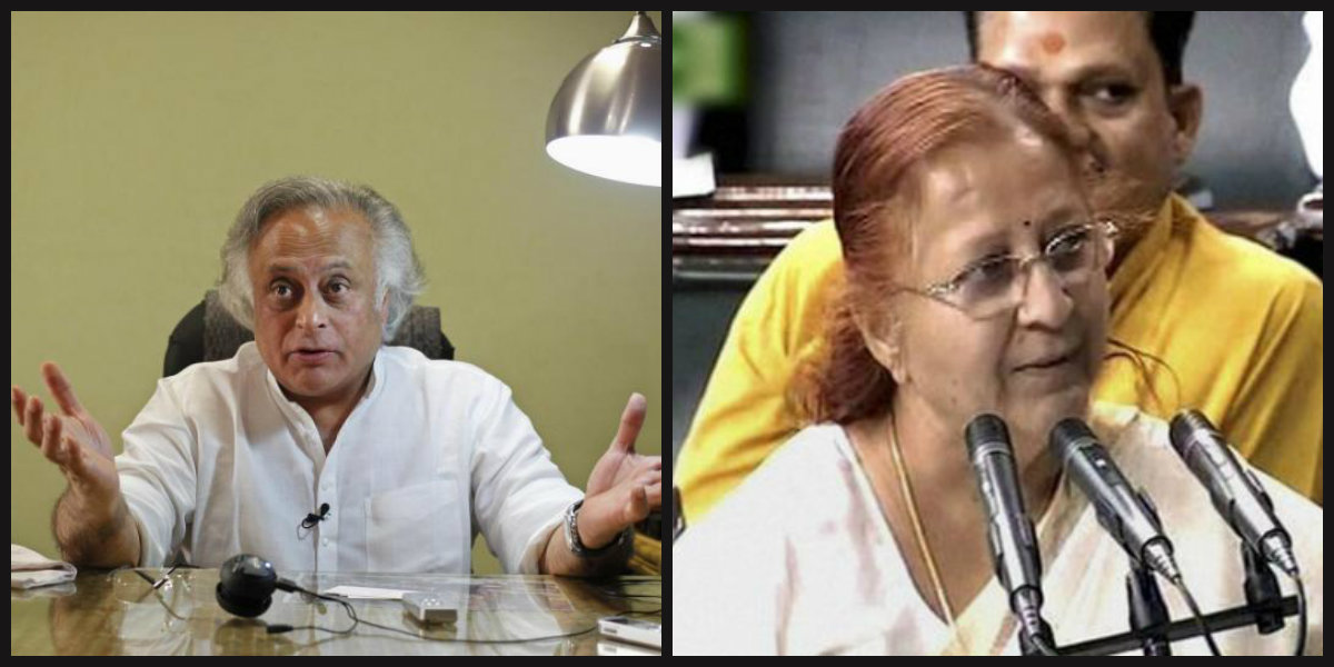 Jairam Ramesh (L) has said Lok Sabha speaker Sumitra Mahajan's decision to pass the Aadhaar Act as a money Bill is unconstitutional. It remains to be seen what the court will say. Credit: PTI