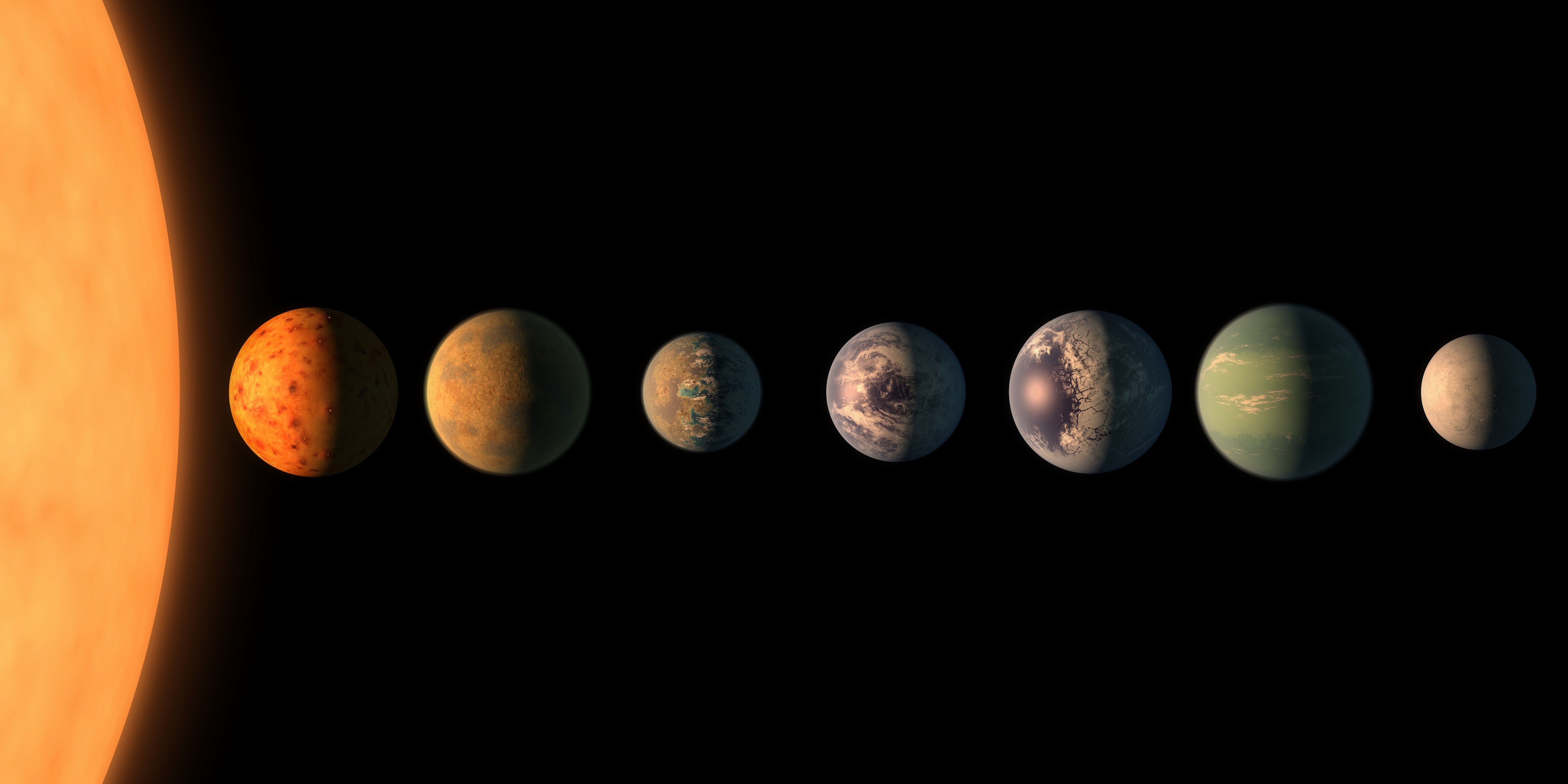 This artist's conception shows what the TRAPPIST-1 planetary system may look like, based on available data about their diameters, masses and distances from the host star. Caption: Nature; credit: NASA/JPL-Caltech (TRAPPIST)