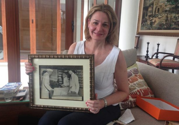 Glory Days: Michelle, in Jakarta, with a photograph of Nehru's visit to Eastern Scales. Credit: Pallavi Aiyar