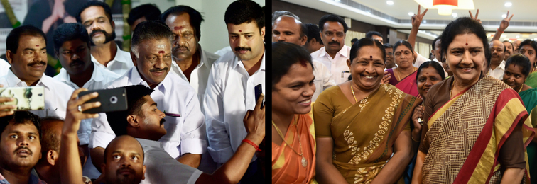 O. Panneerselvam and V.K. Sasikala with their supporters. Credit: PTI
