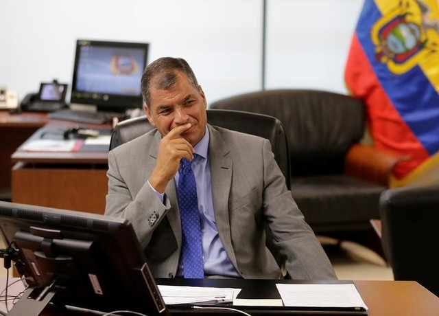 Ecuadorean President Rafael Correa speaks next to delegates (not pictured) of the Union of South American Nations (UNASUR), which will participate in Ecuador's electoral process, in Guayaquil, Ecuador February 18, 2017. Credit: Reuters