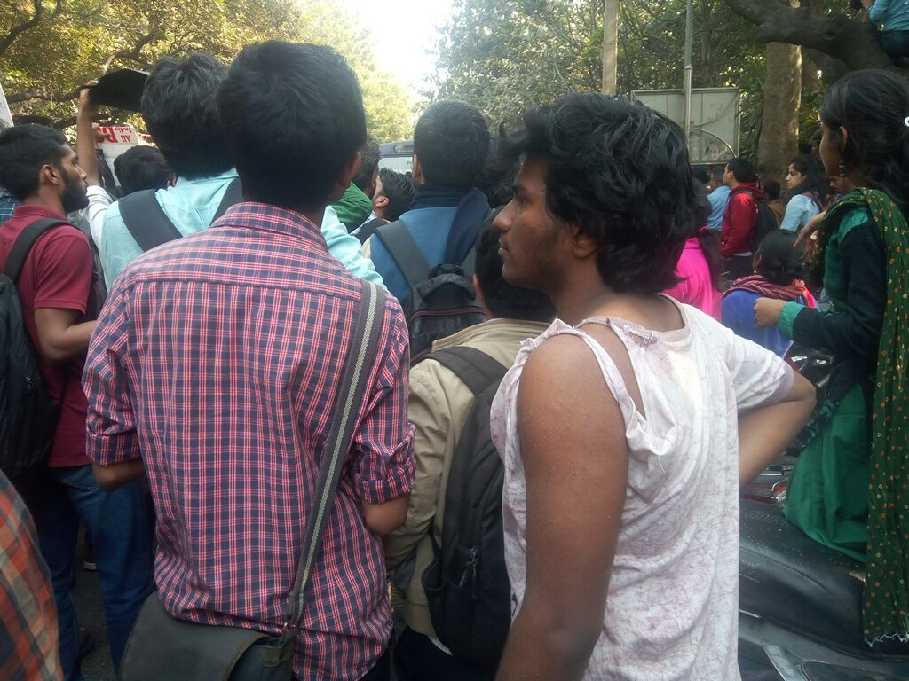 Students, Faculty Protesting ABVP Violence Attacked By Thugs Inside Ramjas College