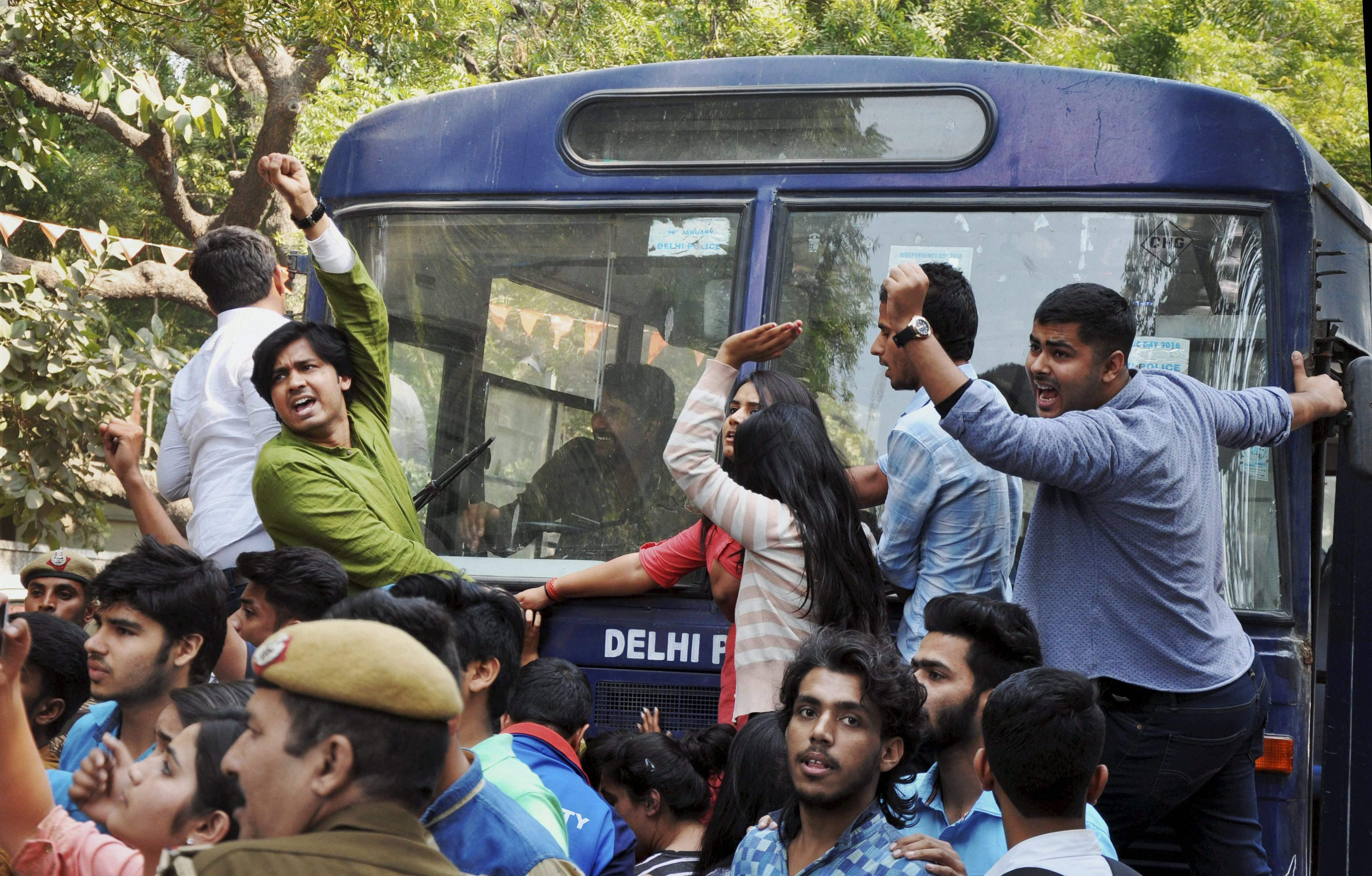 ABVP activists at Ramjas College on Wednesday. Credit: PTI