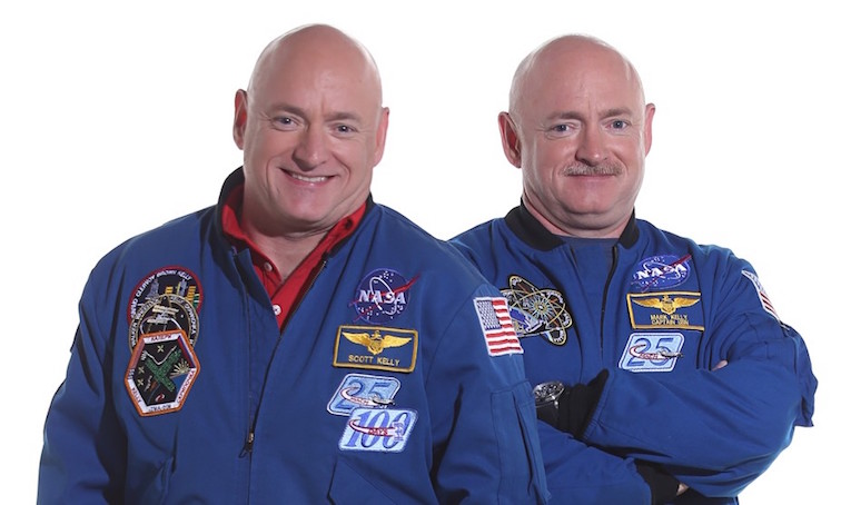 Separated at launch. Scott and Mark Kelly. Credit: NASA