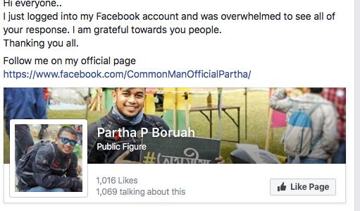 Screenshot of Boruah's post.