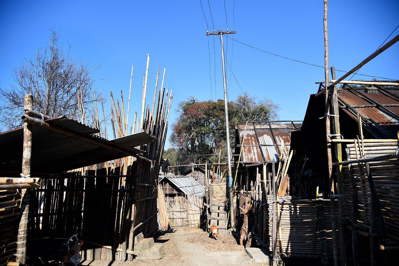 A Hong home of bamboos, built on wooden stilts.