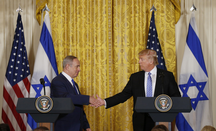 Trump's words about Israel are vague to the point of emptiness. Credit: Reuters