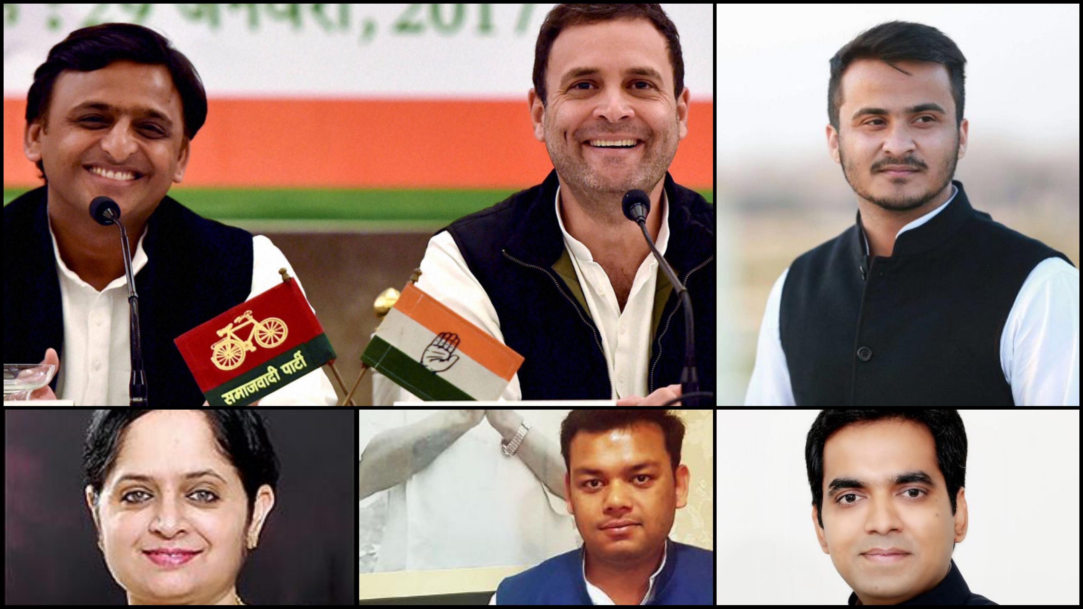 (L-R) UP chief minister Akhilesh Yadav with Rahul Gandhi, Abdullah Azam Khan, Pankaj Singh, Sandeep Singh and Mriganka Singh. Credit: Twitter/PTI