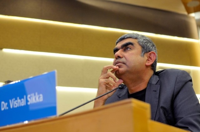 Infosys chief executive Vishal Sikka listens to reporters' questions during the announcement of the company's quarterly results at its headquarters in Bengaluru, India, October 14, 2016. Credit: Reuters