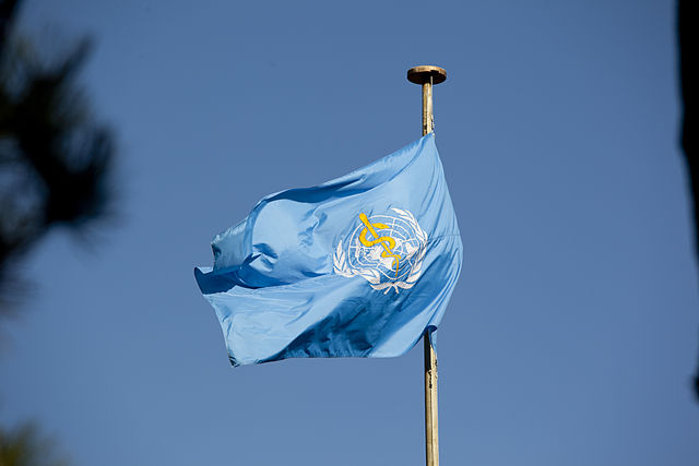 The flag of the World Health Organisation. Credit: Wikimedia Commons