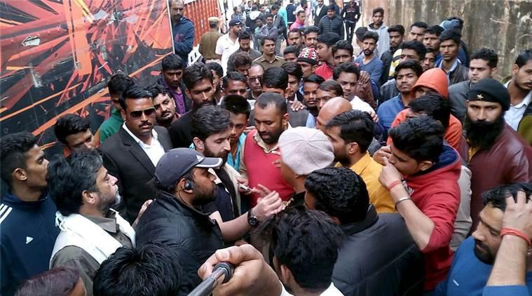 Jaipur: Karni Sena activists protest against the shooting of Sanjay Leela Bhansali's upconimg film 'Padmawati' alleging depiction of 'wrong facts' in it at Jaigarh fort in Jaipur. Credit: PTI