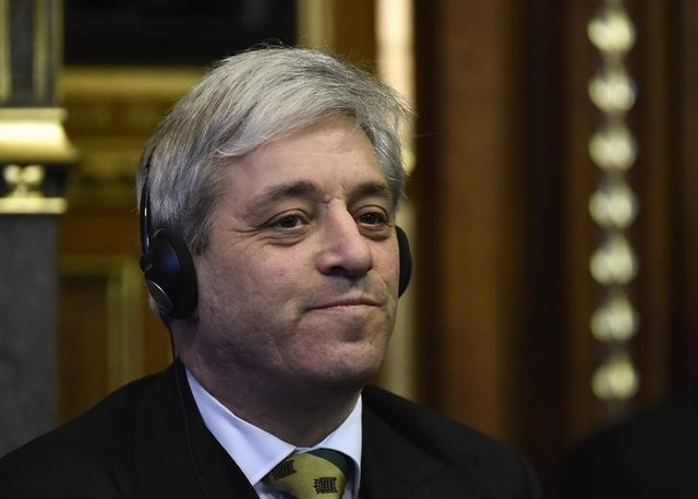 John Bercow, the speaker of the House of Commons listens as Mexico's President Enrique Pena Nieto delivers an address to members of the British All-Party Parliamentary Group at the Houses of Parliament in London, March 3, 2015. Credit: Reuters