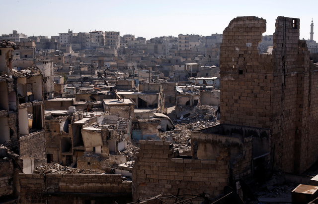 A general view shows damaged buildings at al-Kalasa district of Aleppo, Syria in Aleppo, Syria, February 2, 2017. Picture taken February 2, 2017. REUTERS/Omar Sanadiki