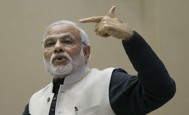 India's Prime Minister Narendra Modi gestures as he addresses a gathering during a conference of start-up businesses in New Delhi, January 16, 2016. Credit: Adnan Abidi/Reuters/Files