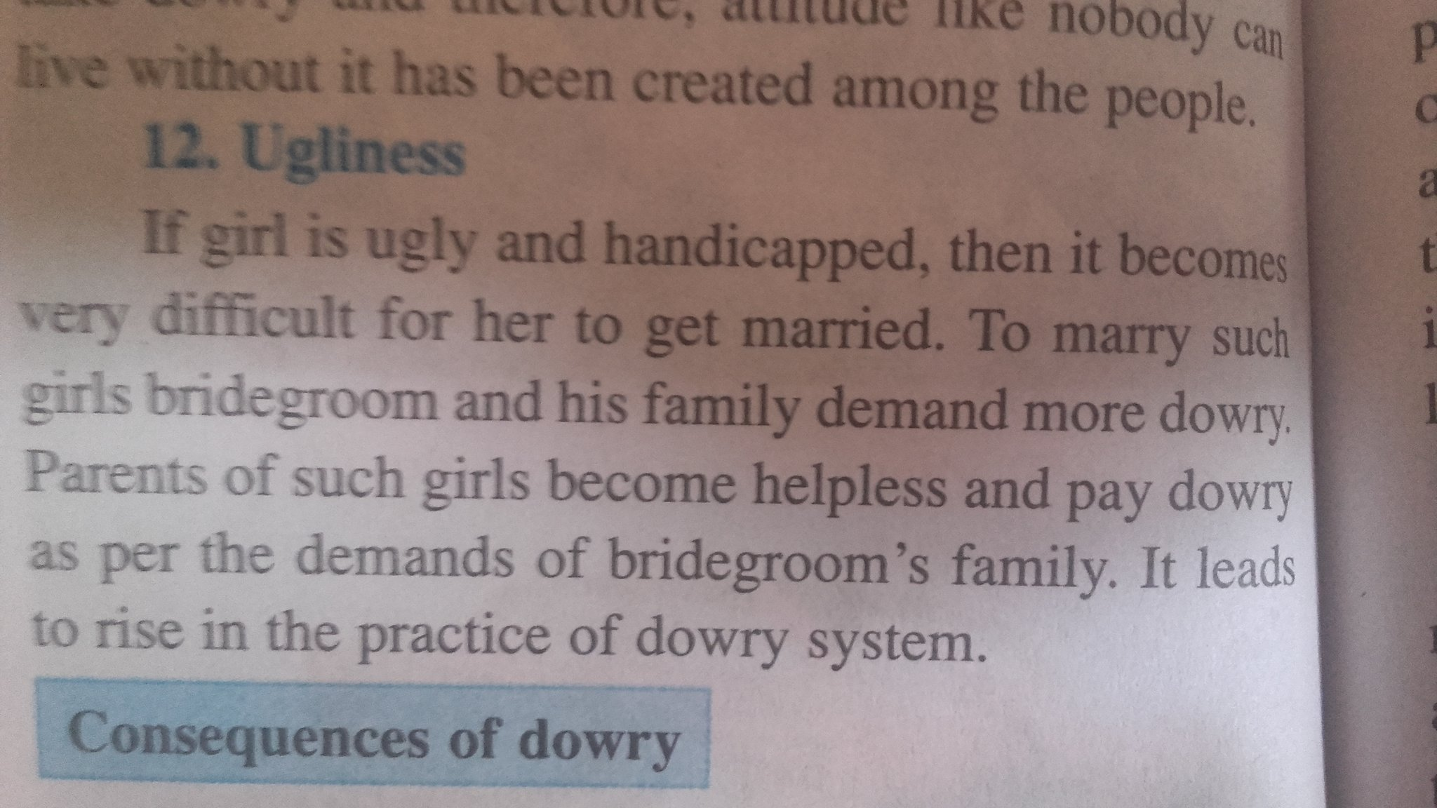 The section of the textbook that lists 'ugliness' as a cause for dowry. Credit: Dilip D'Souza/ Twitter