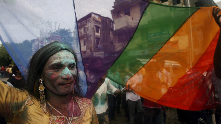 A transgender attends a rally in Mumbai. Credit: Reuters