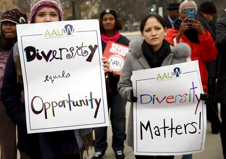 Supporters of affirmative action in US university admissions, at the University of Texas. Kevin Lamarque/Reuters