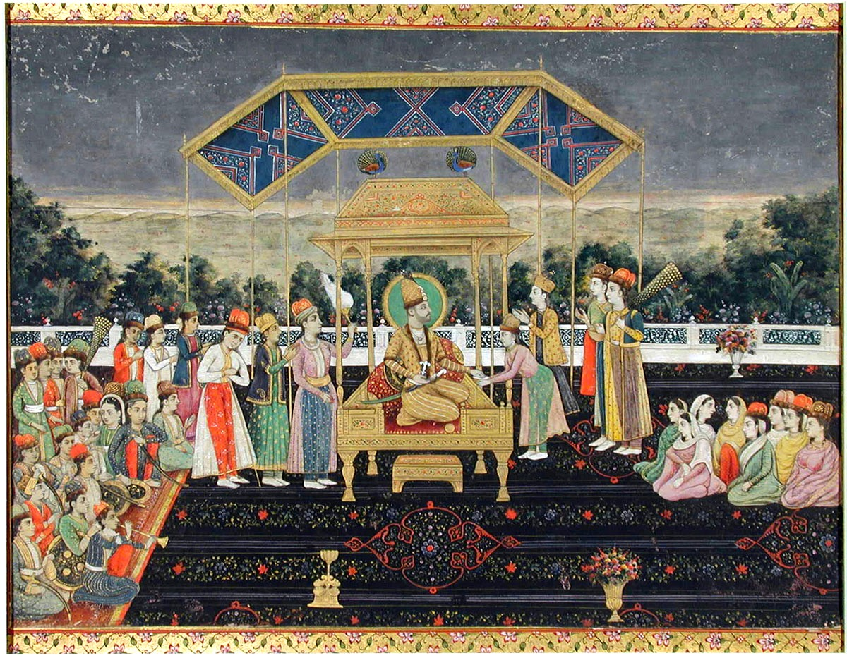 Persian king Nader Shah on the Peacock Throne with members of the court. Credit: Wikimedia Commons
