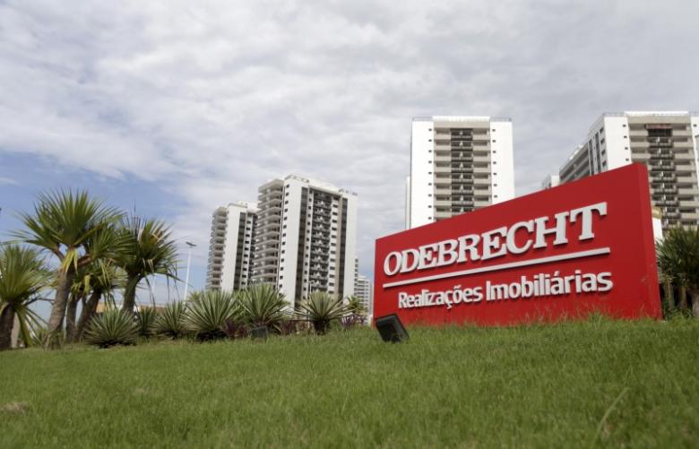 A sign of the Odebrecht SA construction conglomerate is pictured in Rio de Janeiro, Brazil, February 26, 2016. Credit: Reuters