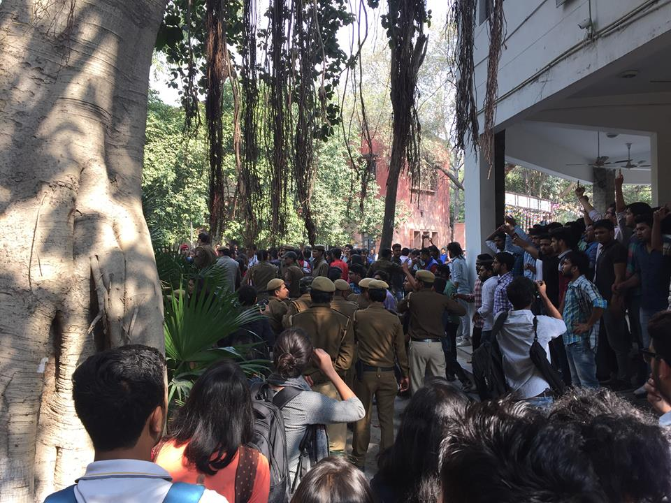 The chaos at Ramjas today. Credit: Facebook