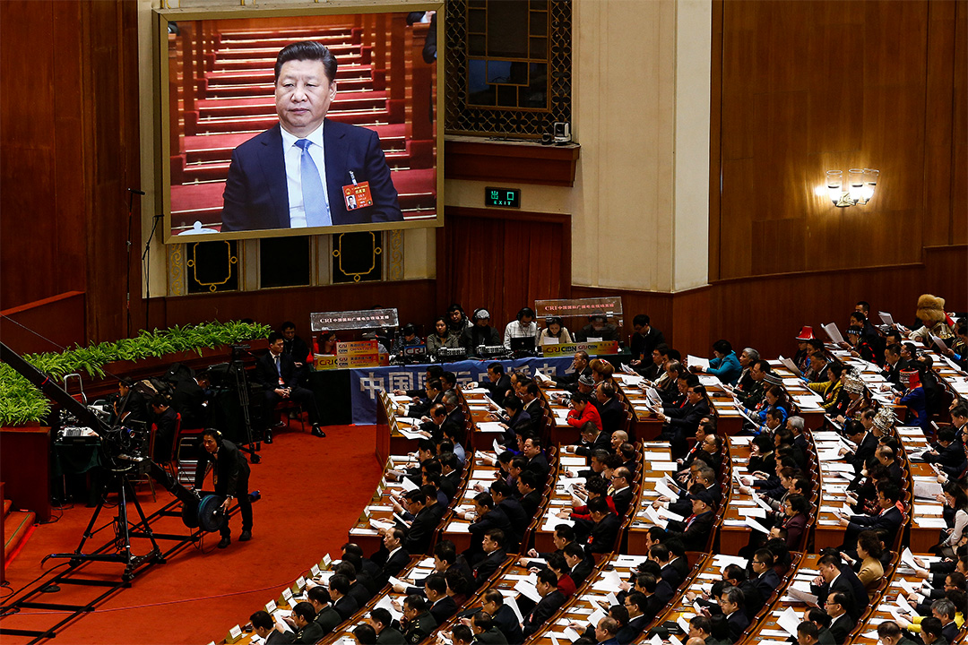 A screens shows China's President Xi Jinping as China's Premier Li Keqiang (not pictured) delivers a government work report, during the opening session of the National People's Congress (NPC) at the Great Hall of the People in Beijing, China, March 5, 2017. Credit: Reuters/Thomas Peter