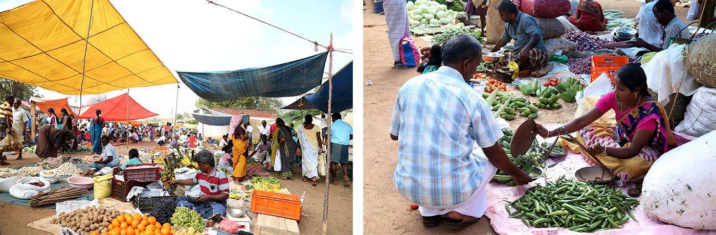 The Sivagangai market (left); Chandra retailing vegetables. Credit: M. Roy Benadict Naveen