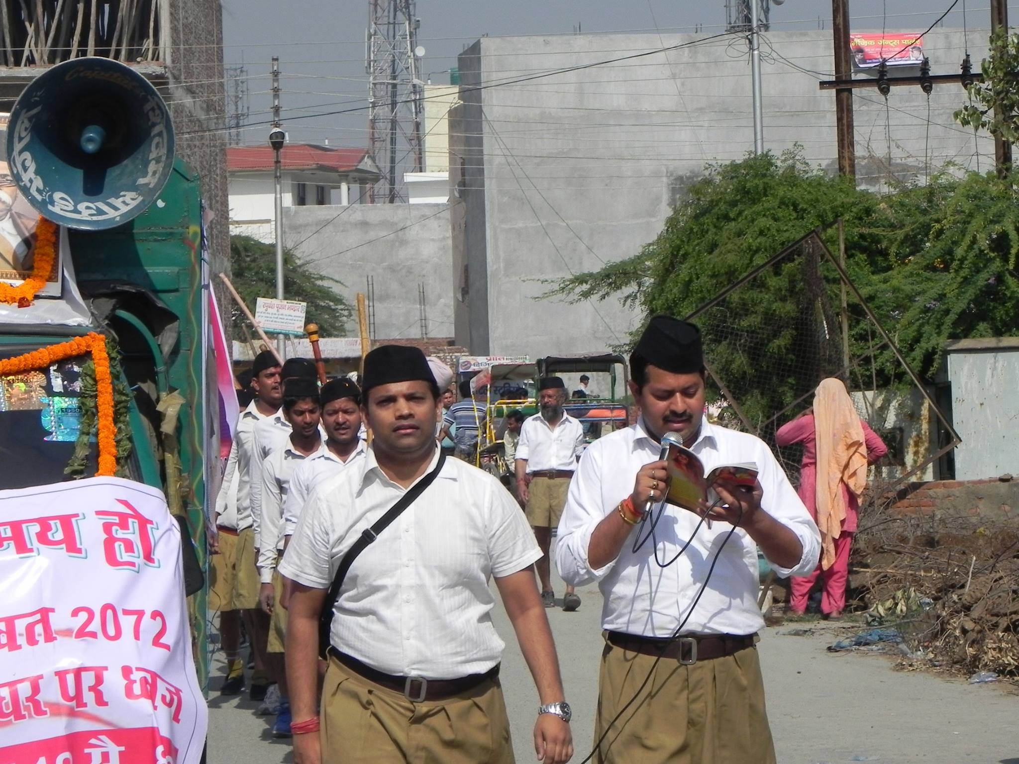 Tanmay Shankar marching as part of an RSS procession. Credit: Tanmay Shankar's Facebook page