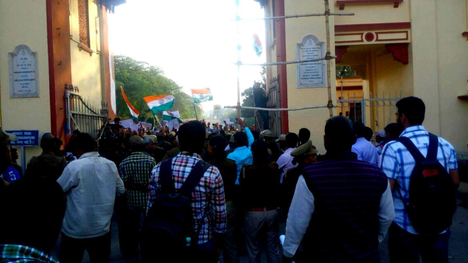 ABVP students in BHU take out a march with Indian flags. Credit: Facebook
