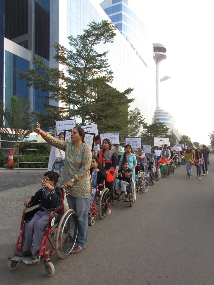 Marching for rights on Disability Day. Credit: Shefali Kalra