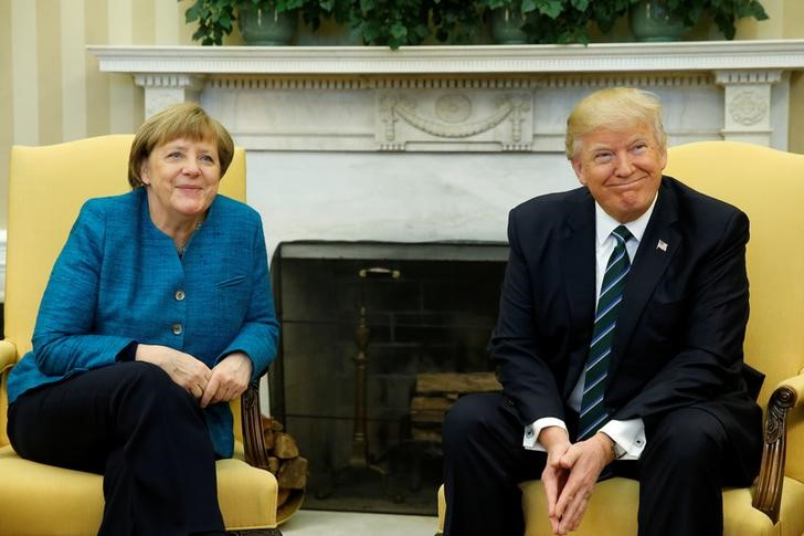 US President Donald Trump meets with Germany's Chancellor Angela Merkel in the Oval Office at the White House in Washington, US March 17, 2017. Credit: Jonathan Ernst?Reuters