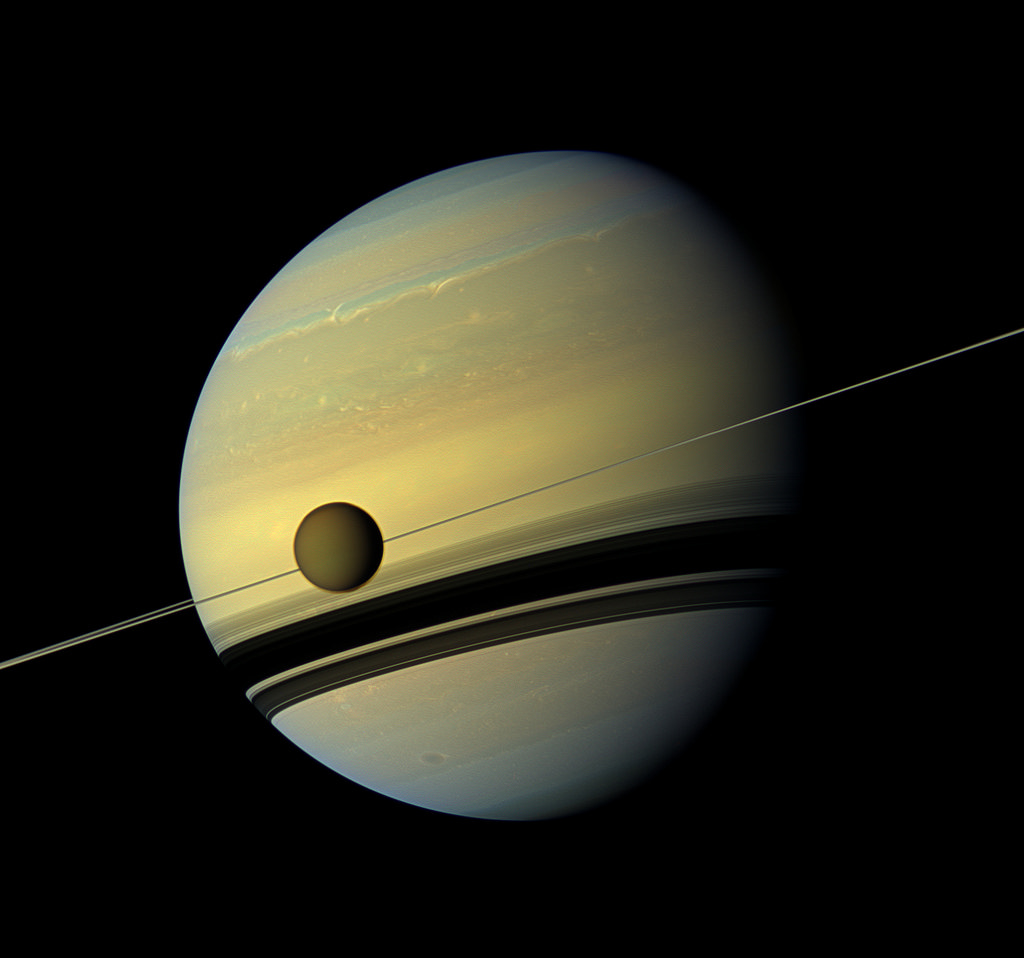 Saturn and Titan, its largest moon. Credit: gsfc/Flickr, CC BY 2.0