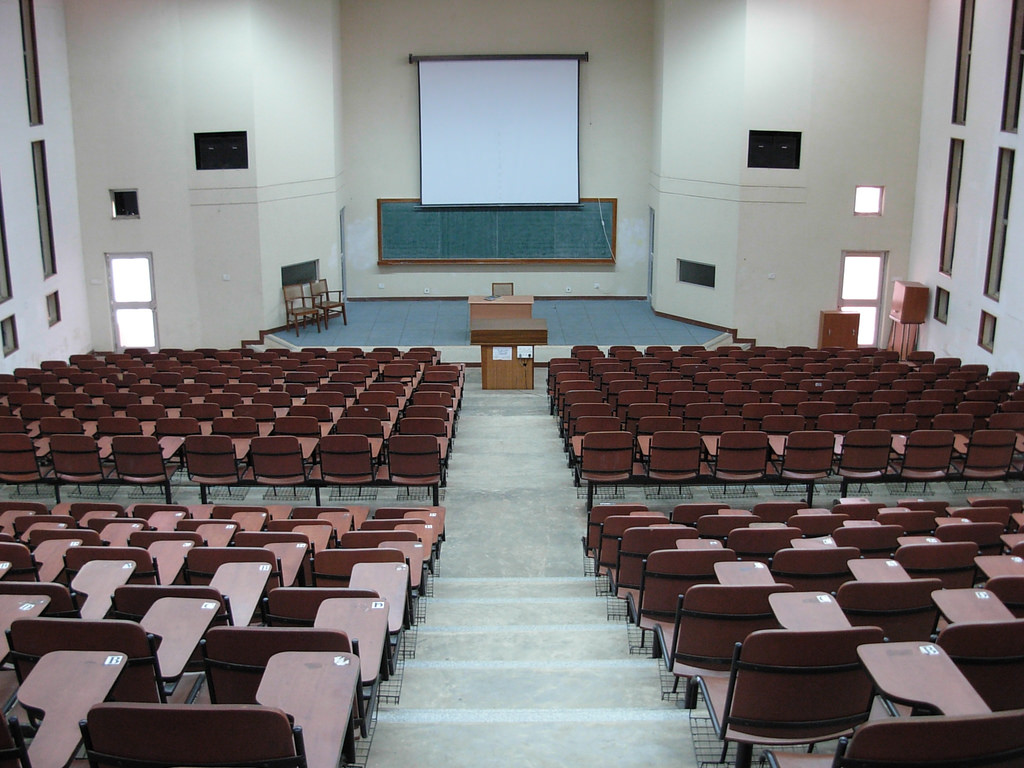 It remains to be seen whether state governments will be happy just having IITs or whether they'll push for them to become centres for research and change. A lecture hall at IIT Kharagpur. Credit: ambuj/Flickr, CC BY 2.0