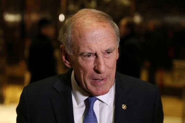 Senator Dan Coats (R-IN) stops to speak to the news media after a meeting at Trump Tower with President Donald Trump in New York, US, November 30, 2016. Credit: Lucas Jackson/Reuters