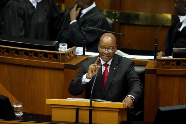 President Jacob Zuma delivers his State of the Nation Address to a joint sitting of the National Assembly and the National Council of Provinces in Cape Town, South Africa February 9, 2017. Credit: Sumaya Hisham/Reuters