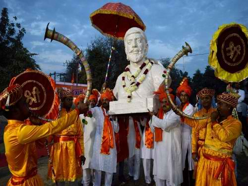 People celebrate Shivaji Jayanti in Gurugram. Credit: PTI/File Photo