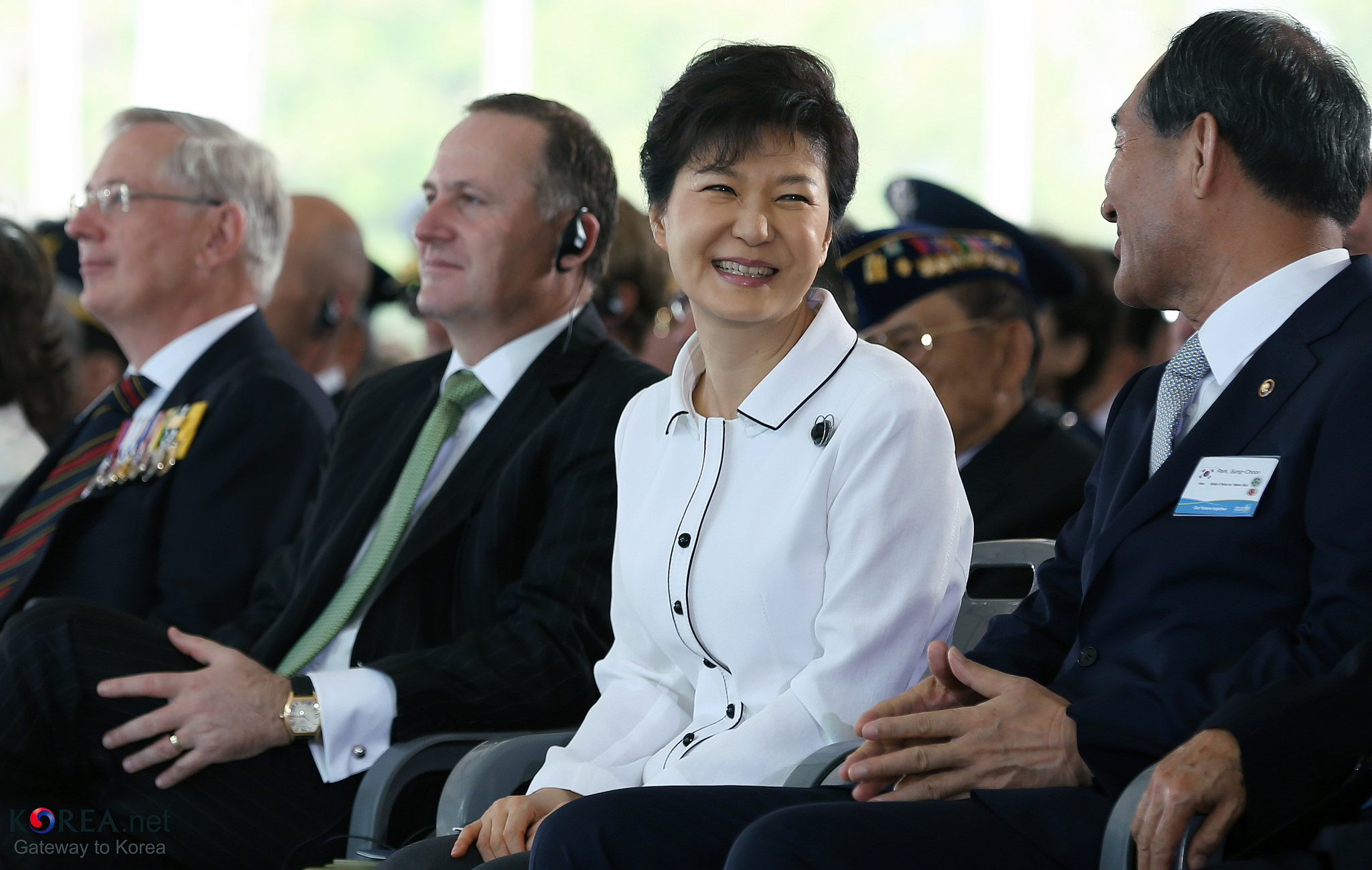 Park Guen-hye smiles during the Korean War at the ceremony marking the 60th anniversary of the signing of the armistice agreement that ended the Korean War on July 27, 1953. Credit: Republic of Korea/Flickr CC BY-SA 2.0