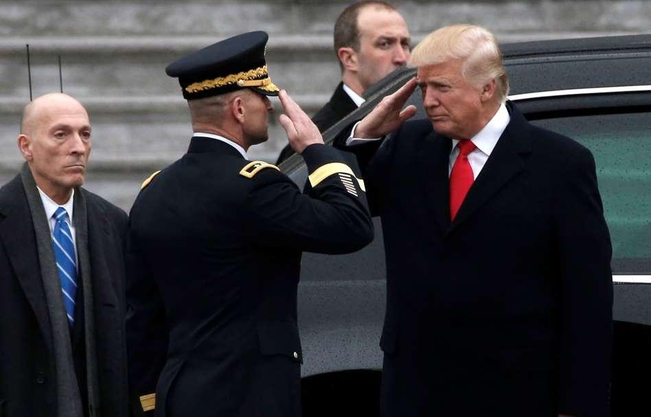 Who's saluting whom? Credit: Mike Segar/Reuters