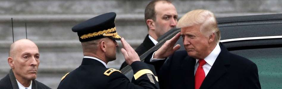 Who's saluting whom? Credit: Mike Segar/Reuters