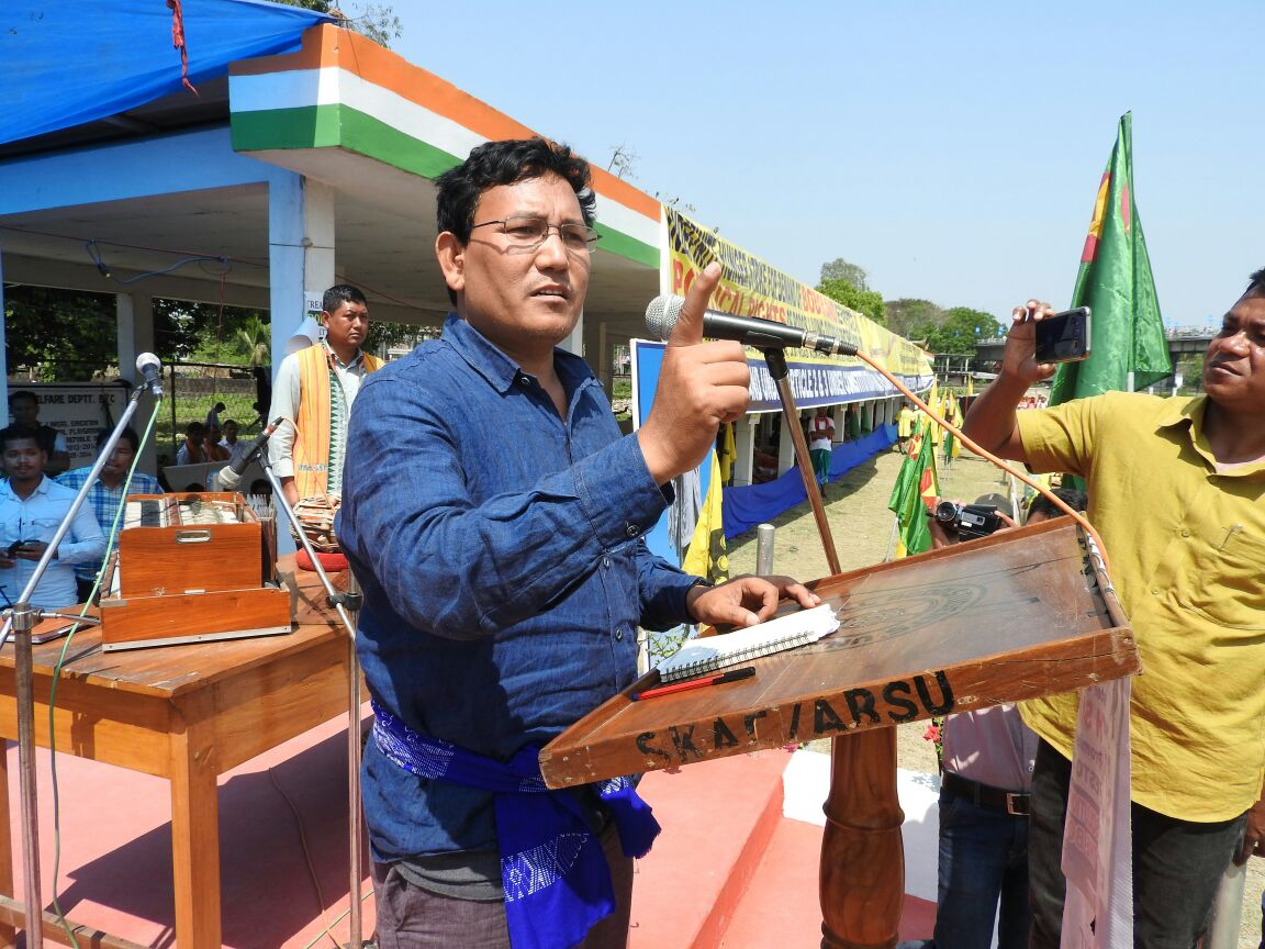 ABSU president Pramod Boro addressing the rally on March 15. Credit: Special arrangement