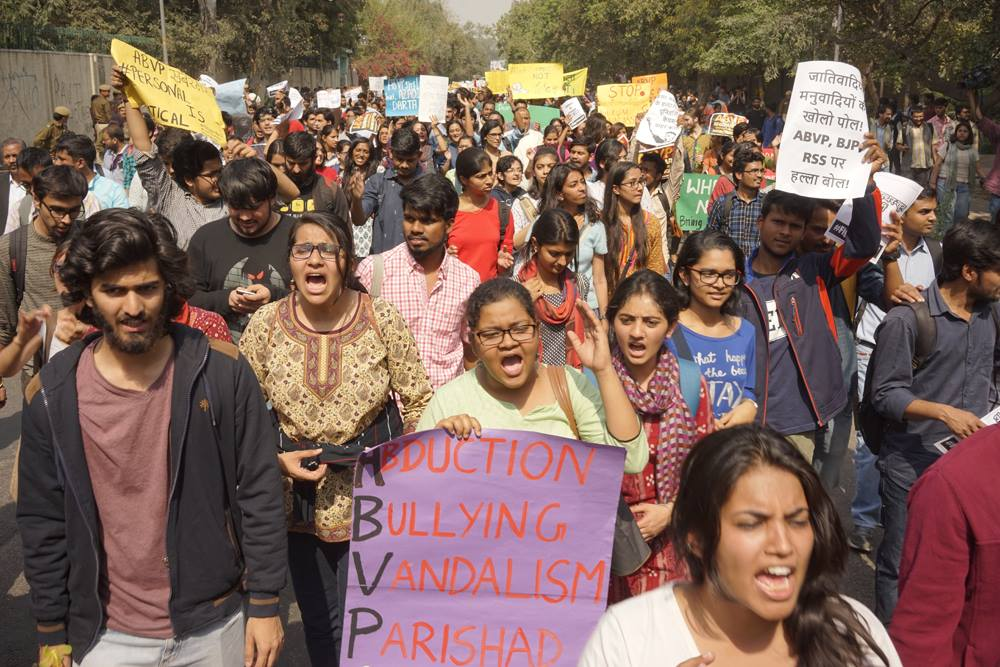 Students protesting against the ABVP in New Delhi on January 28, 2017. Credit: Ram Rahman