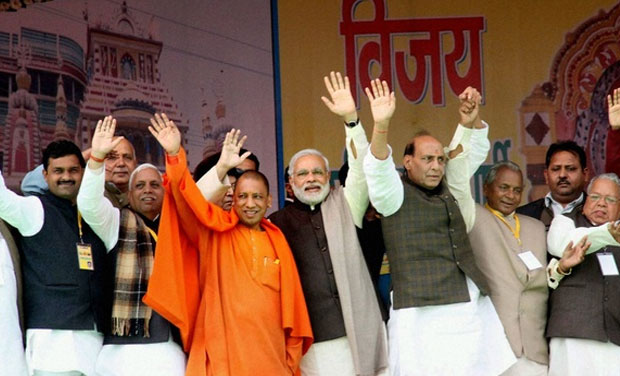 The BJP has repeatedly promised to build a Ram mandir on the Babri masjid plot if elected to power in UP. Credit: PTI