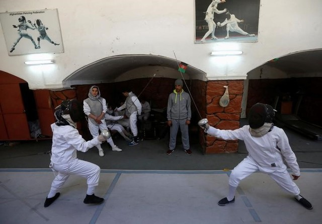 Afghan girls practice their daily training at a fencing club in Kabul, Afghanistan March 4, 2017. Credit: Reuters