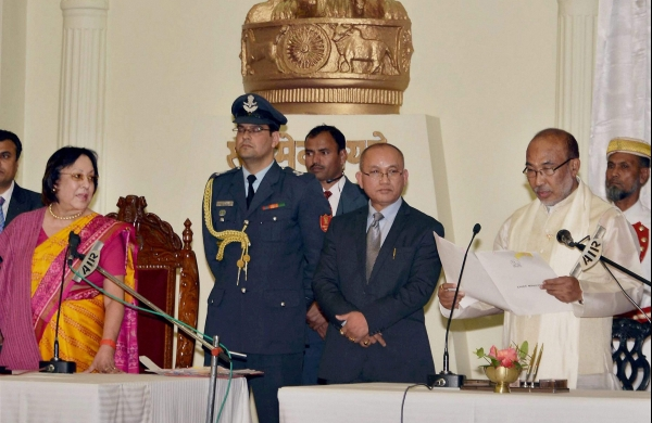Manipur chief minister N. Biren Singh taking oath. Credit: PTI