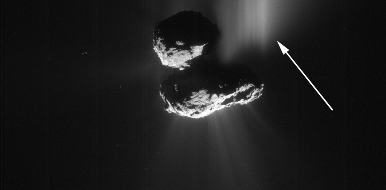This comet 67P outburst was caused by a cliff collapse. Credit: Rosetta/Navcam/ESA
