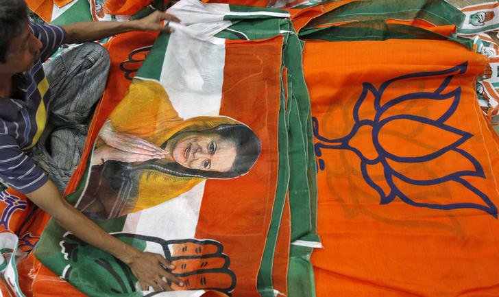Congress and BJP party flags. Credit: PTI