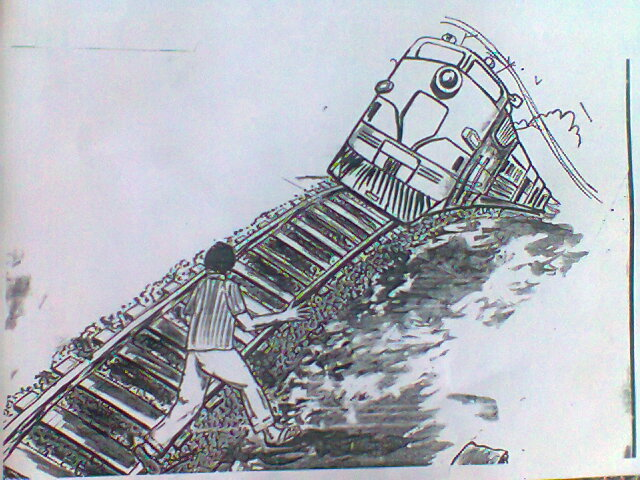 Constructed sketch by Dr Sampath Kumar of one possible position of the train hitting Ilavarasan but not corroborated with the nature of  his injuries. Credit: Dr. Sampath Kumar