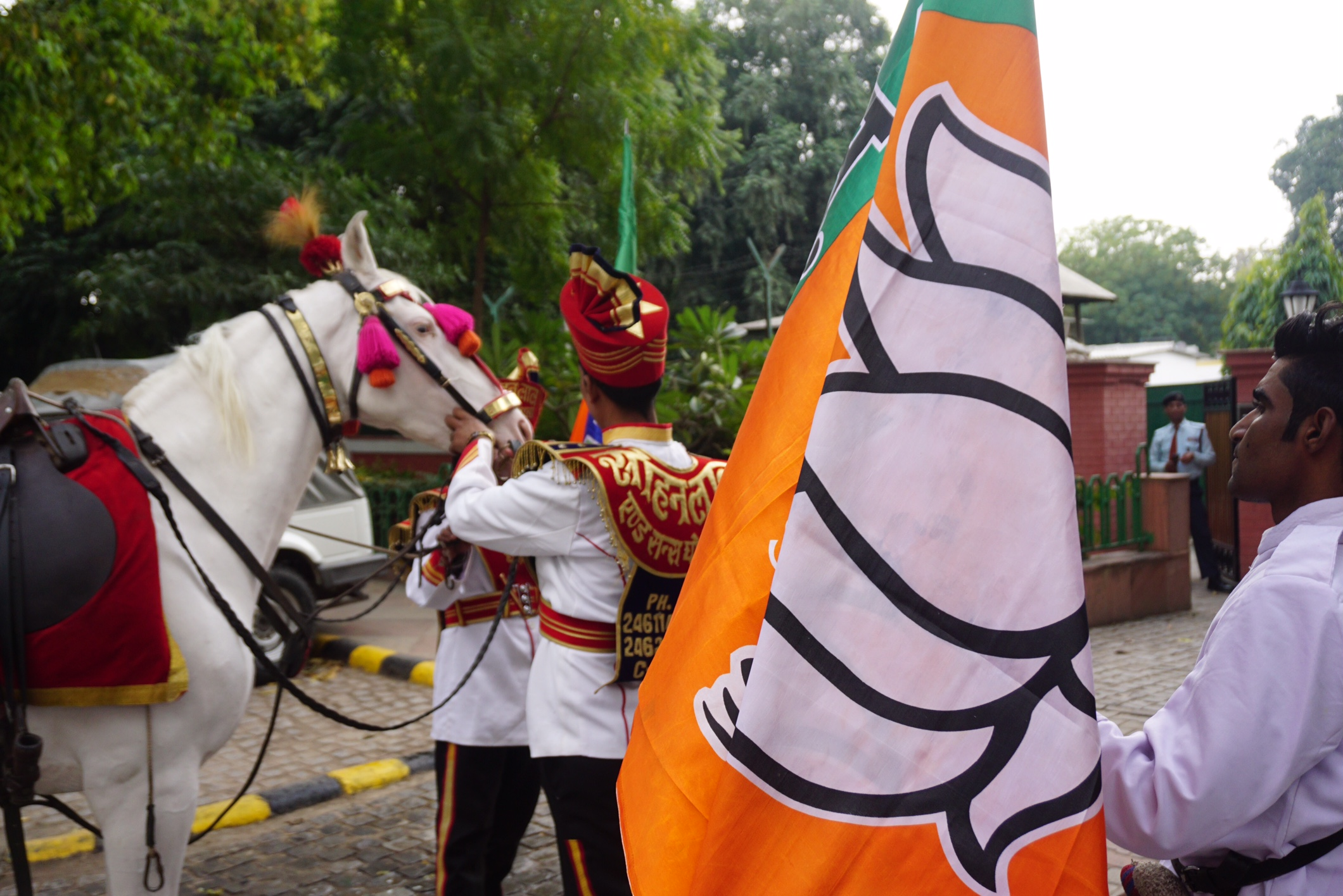 BJP workers celebrating outside the party office in New Delhi. Credit: Shome Basu